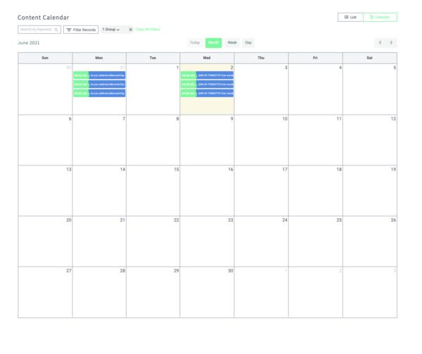 Social Soaring's Self Posting Platform Calendar View